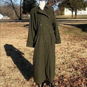 Vintage Burberrys wool alpaca military green coat.